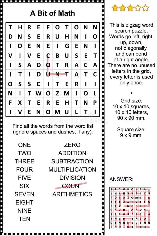 Rompecabezas temático de la búsqueda de la palabra de la matemáticas básica stock de ilustración