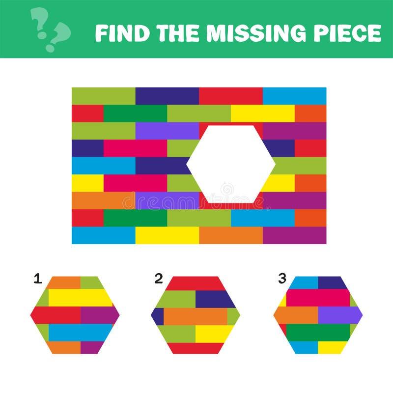 Rompecabezas visual de la l?gica Encuentre el pedazo que falta - desconcierte el juego para los ni?os ilustración del vector