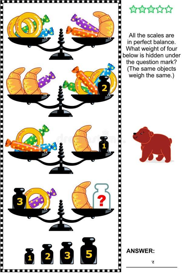 Rompecabezas visual de la matemáticas con las escalas, los pesos, la repostería y pastelería y los caramelos stock de ilustración