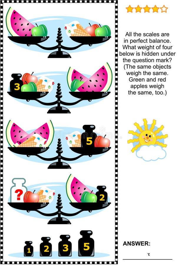 Rompecabezas visual de la matemáticas con las escalas, los pesos, las manzanas, el helado y las rebanadas de la sandía ilustración del vector