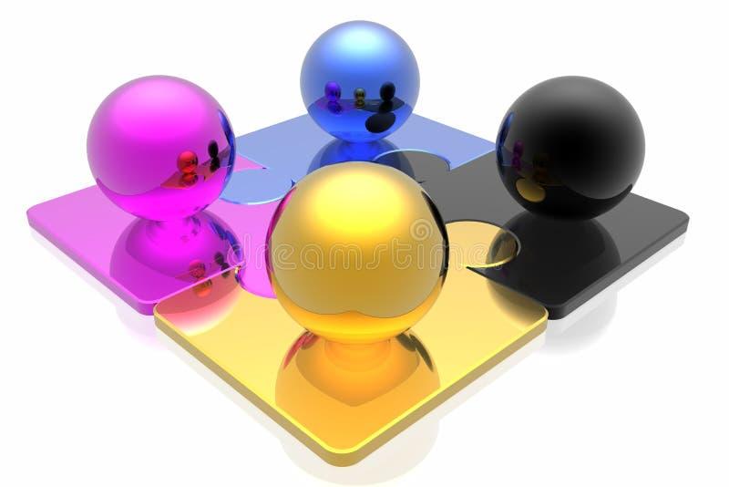 Rompecabezas y esfera de CMYK ilustración del vector