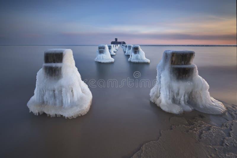 Rompeolas de madera congelados línea, invierno foto de archivo