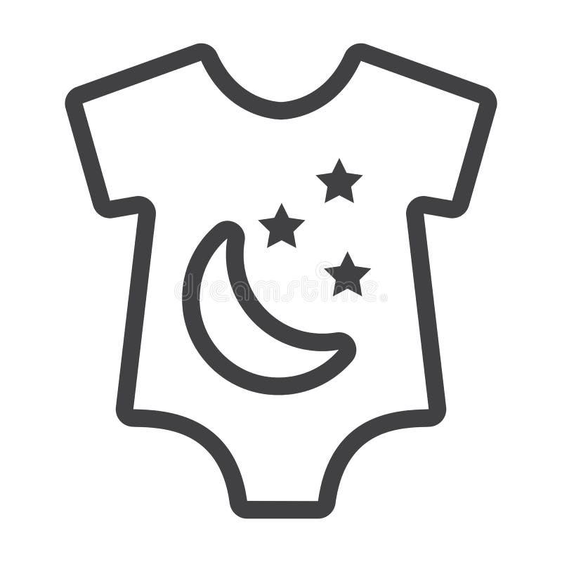Romper μωρών εικονίδιο γραμμών, ενδύματα μωρών και παιδί διανυσματική απεικόνιση