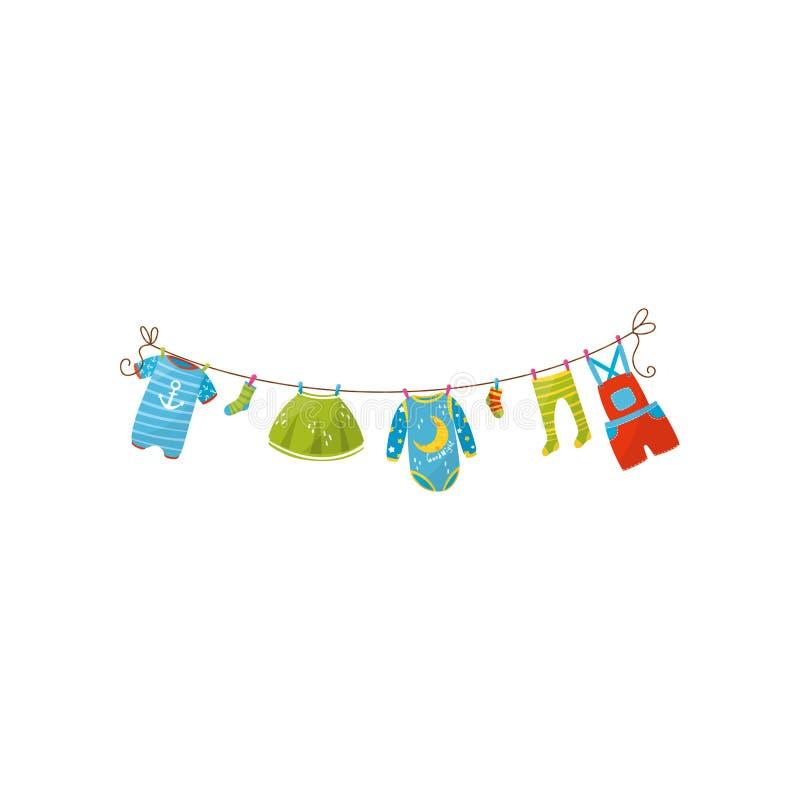 Romper μωρών, κάλτσες, γενική παράδοση φουστών, κομπινεζόν, καλσόν και σορτς στο σχοινί Ενδυμασία για το κορίτσι και το αγόρι παι διανυσματική απεικόνιση