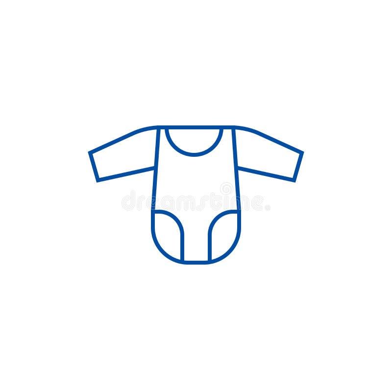 Romper suit line icon concept. Romper suit flat  vector symbol, sign, outline illustration. stock illustration