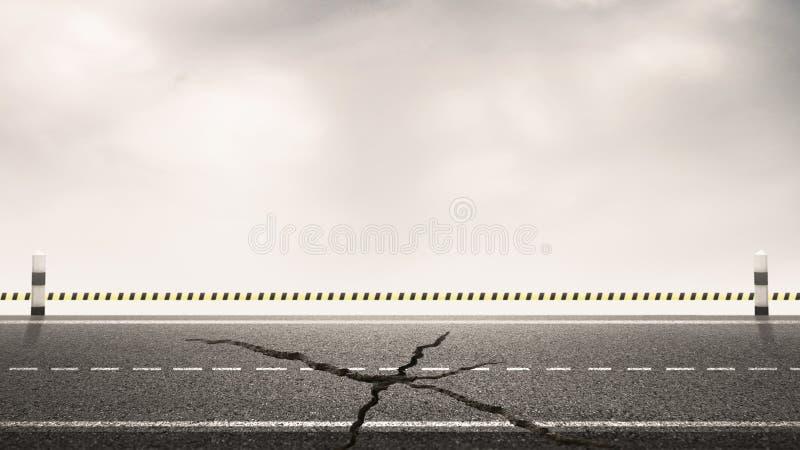 Rompida de estrada asfaltada com marcos e fundo do céu para os fundos de design Conceito de construção imagem de stock