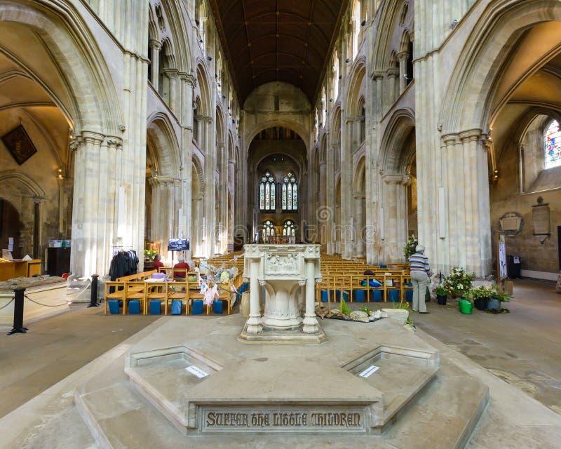 Romsey Abbey Font royalty-vrije stock foto's