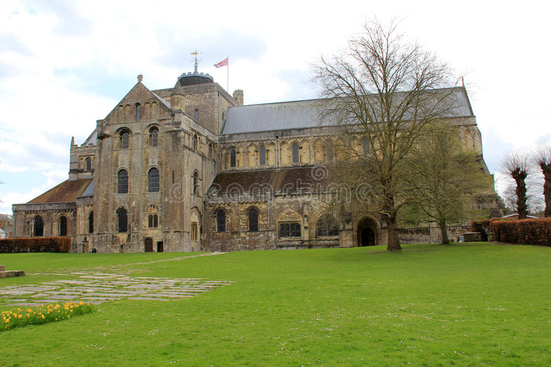 Romsey Abbey. On a spring day stock photo