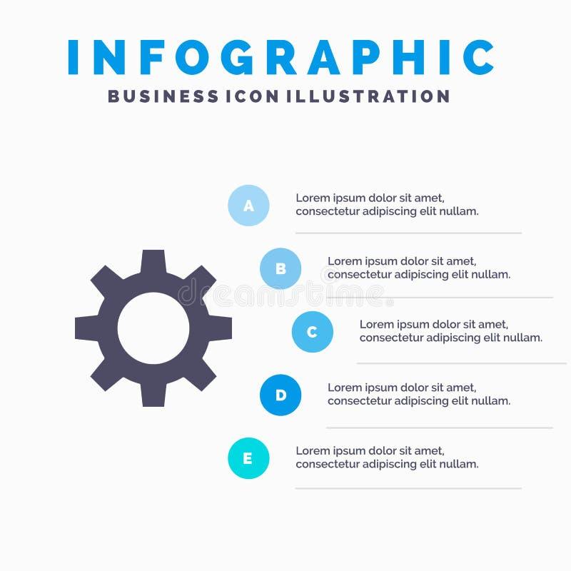 Romzicon, het Plaatsen, Gear Solid-Pictogram Infographics 5 de Achtergrond van de Stappenpresentatie stock illustratie