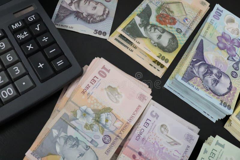 RON纸币的特写 免版税图库摄影