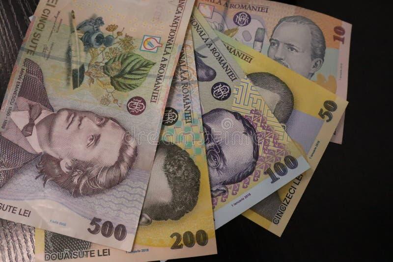 RON纸币的特写 免版税库存图片