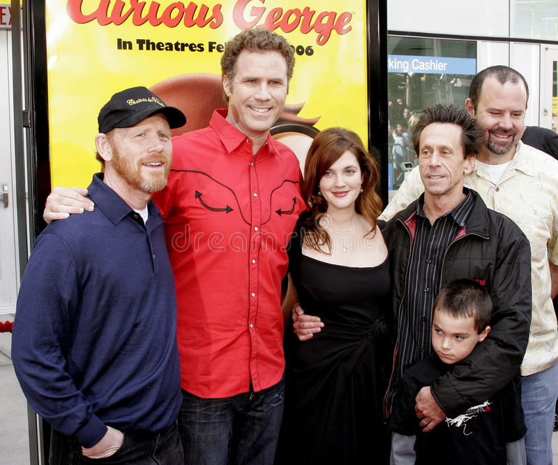 Ron Howard, Will Ferrell, Drew Barrymore i Brian Grazer, obraz stock