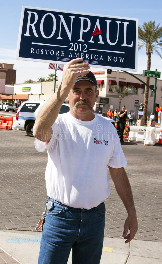 Ron Paul Supporter at GOP Presidential Debate 2012. Republican supporters massed around the site of the CNN GOP debate in Mesa, Arizona (AZ). Republican royalty free stock photography