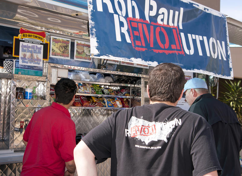 Ron Paul Supporter at GOP Presidential Debate 2012. Republican supporters massed around the site of the CNN GOP debate in Mesa, Arizona (AZ). Republican royalty free stock image