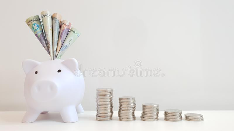 RON in a piggy bank. Romanian currency poking out of a white piggy bank flanked by coins on a white back ground royalty free stock photography