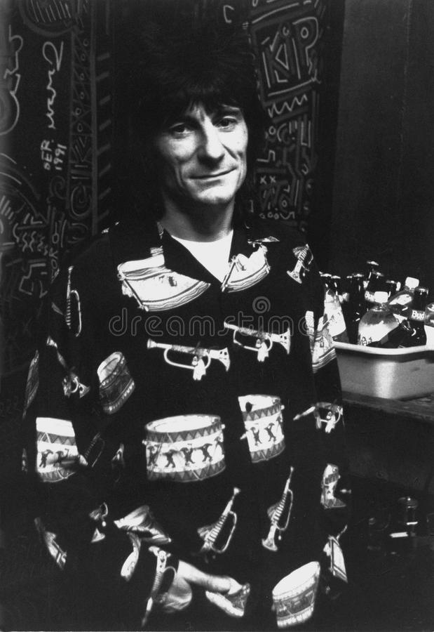 Ron Woods van Rolling Stones die Achterstadium in Boston hangen door Eric L Johnson Photography stock afbeeldingen