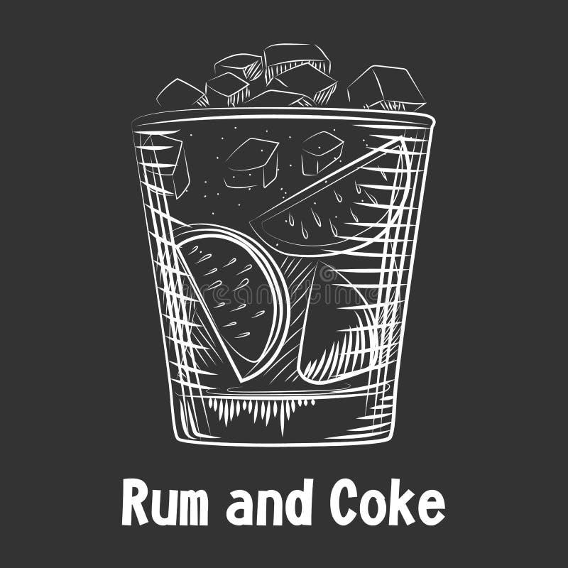 Ron y coque exhaustos del cóctel del bosquejo de la mano Fondo del ron de la bebida del alcohol stock de ilustración
