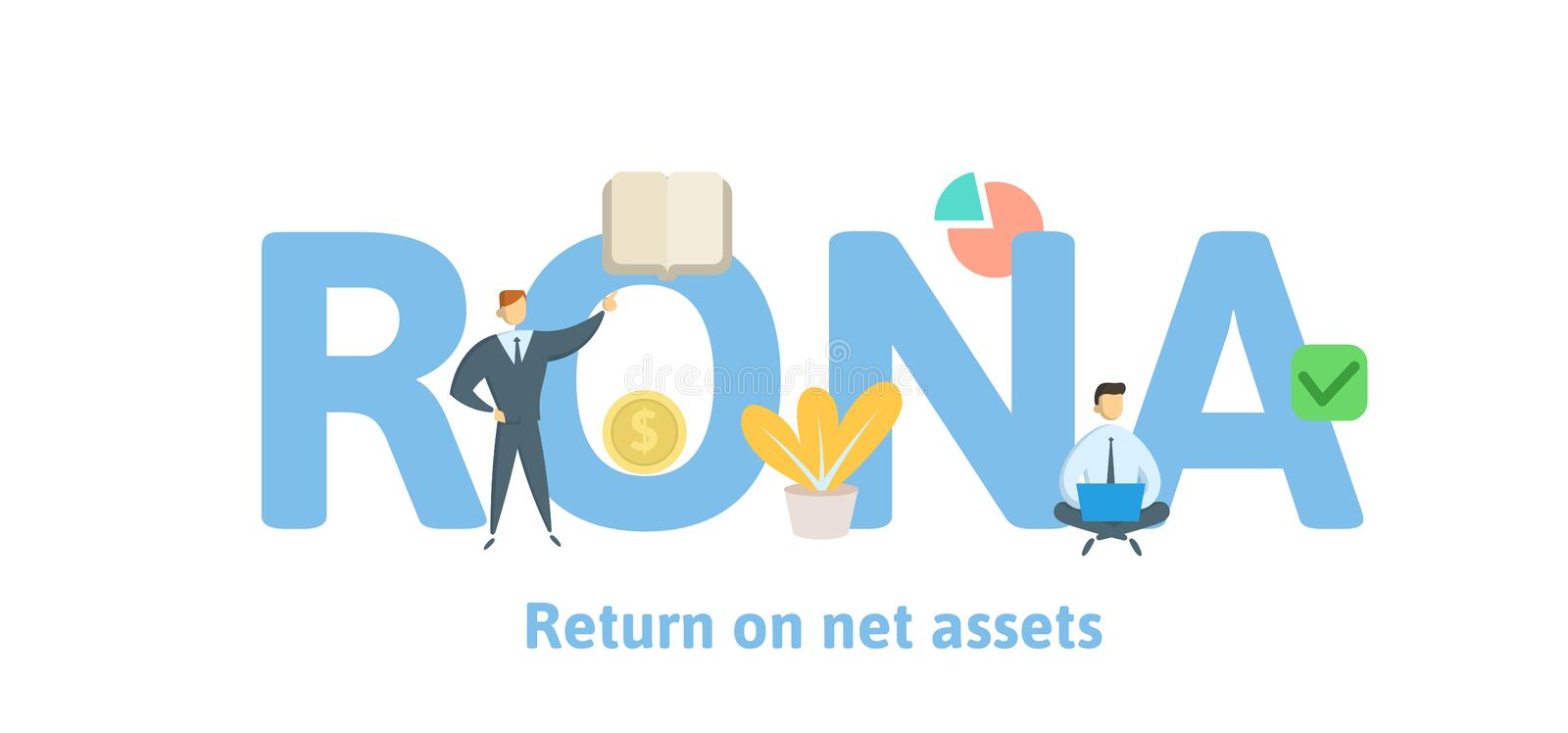 RONA, Return On Net Assets. Concept with keywords, letters and icons. Flat vector illustration. Isolated on white royalty free illustration