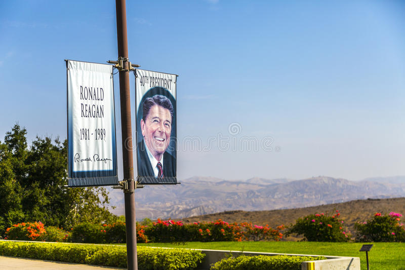 Ronald Reagan. Banner of President Reagan at the Ronald Reagan Presidential Library and Museum in Simi Valley, California royalty free stock photo