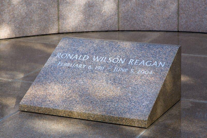 Ronald Reagan Headstone in Reagan Library royalty-vrije stock foto
