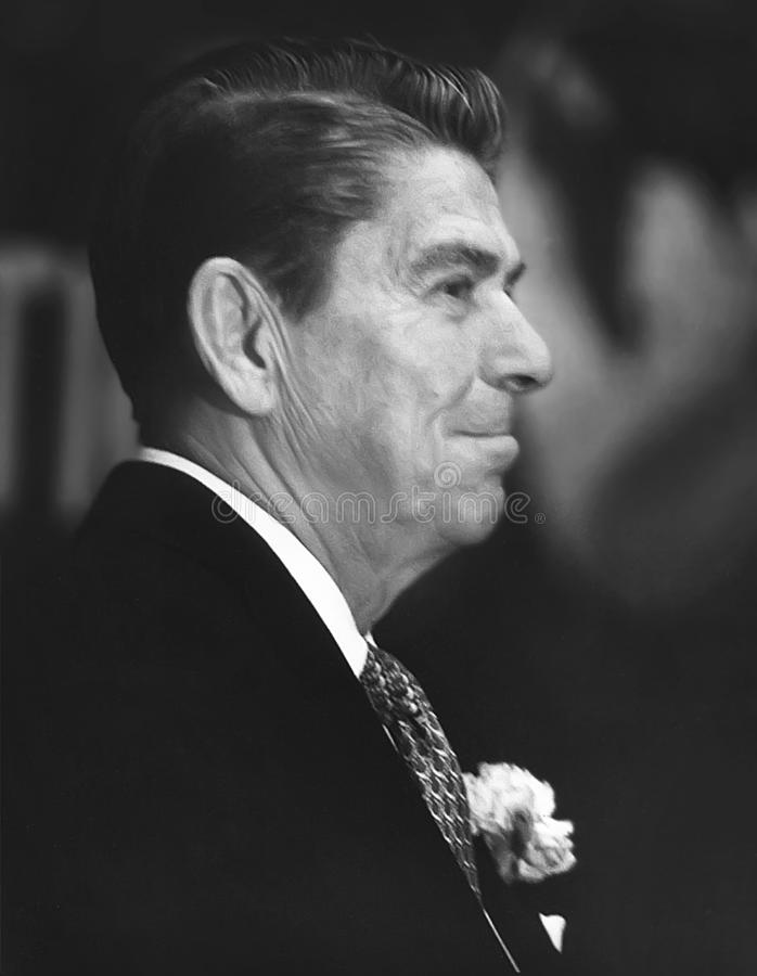 Ronald Reagan. Makes a dapper picture with a boutonniere in his lapel. The occasion was Reagan`s address before the Chicago Council on Foreign Relations on St stock image
