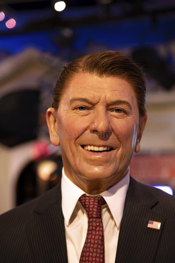 Ronald Reagan in Mevrouw Tussauds van New York stock foto