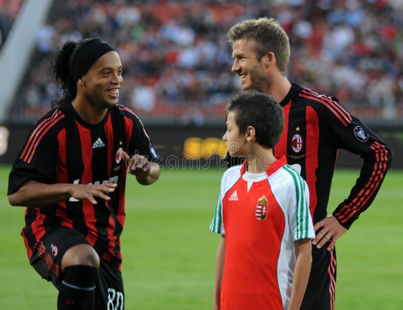 Ronaldinho e Beckham fotografia stock