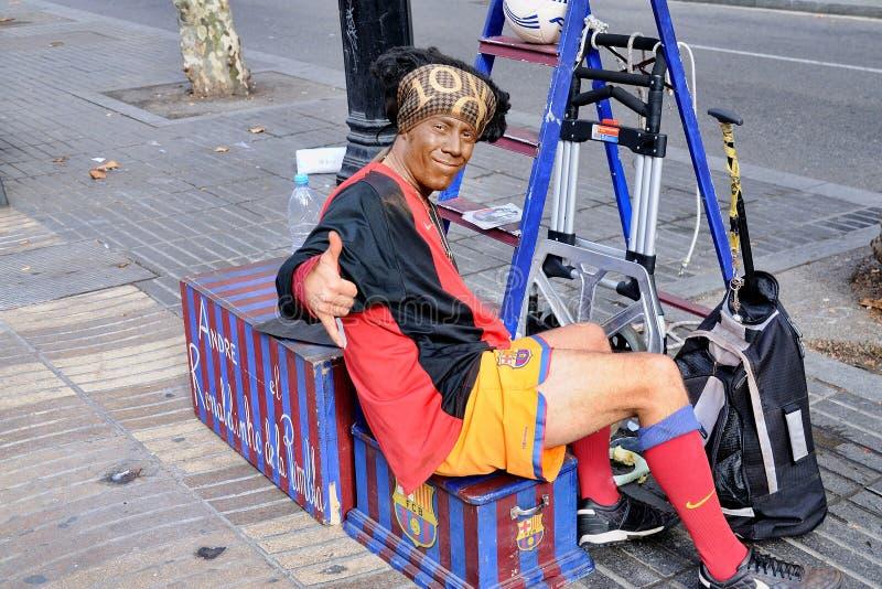 Ronaldinho van La Rambla, presteert bij Les-Wandelingenstraat stock afbeelding