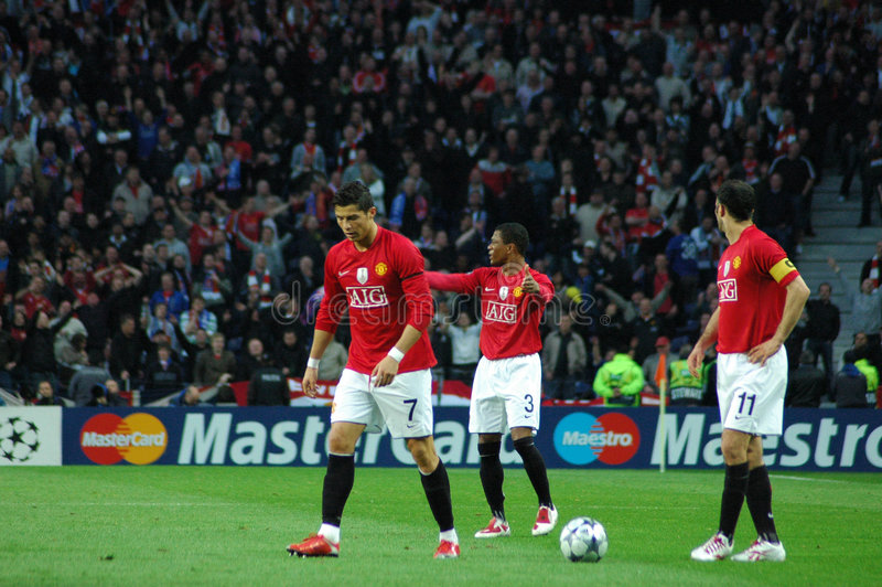 Ronaldo, Evra and Giggs stock photography