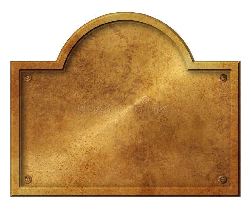 Rond élégant rustique de signe de peste d'or en bronze de blanc illustration libre de droits