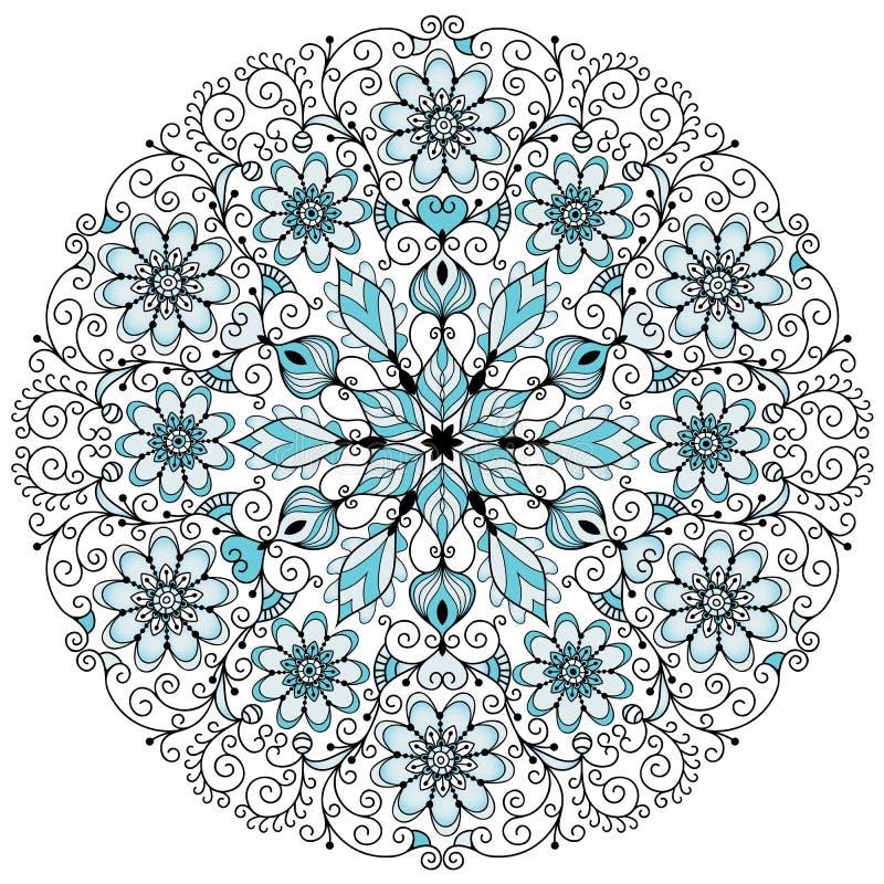 Bloemen kanten uitstekend rond patroon stock illustratie