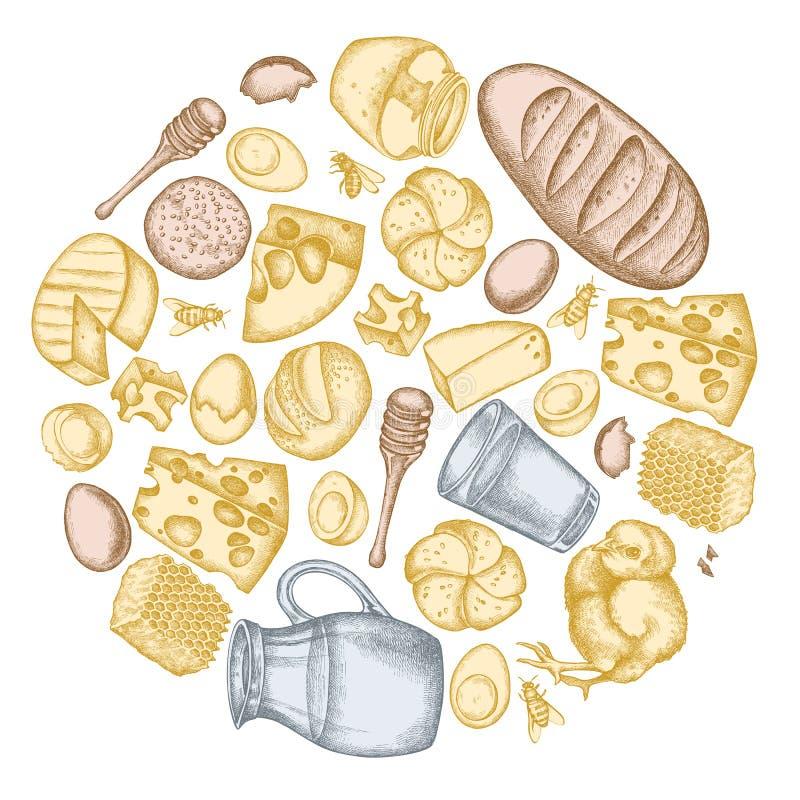 Rond bloemenontwerp met pastelkleurmelk, kaas, kip, eieren, broodjes en brood, honing royalty-vrije illustratie