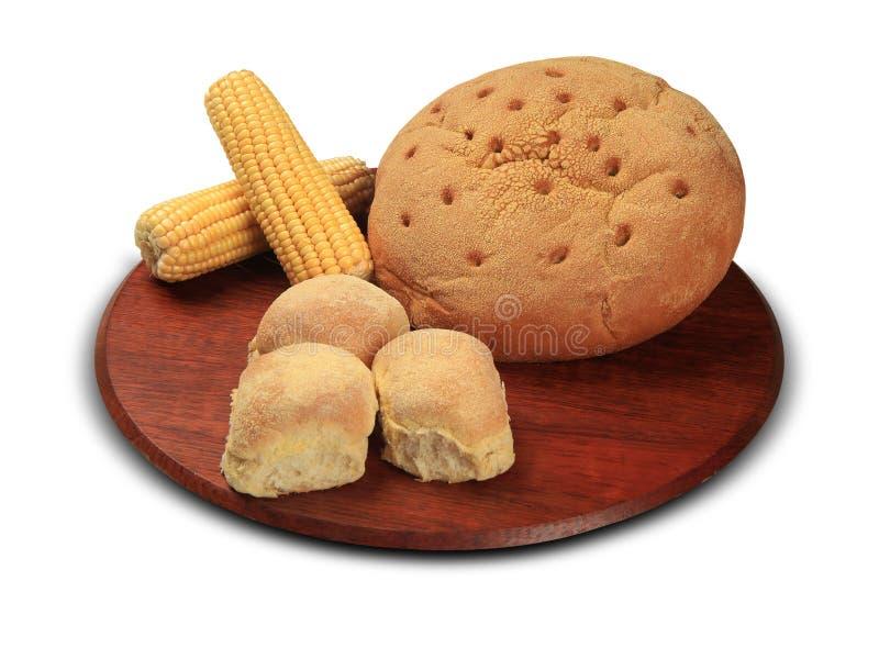 Rond brood van het close-up van het graanbrood op een witte achtergrond stock foto