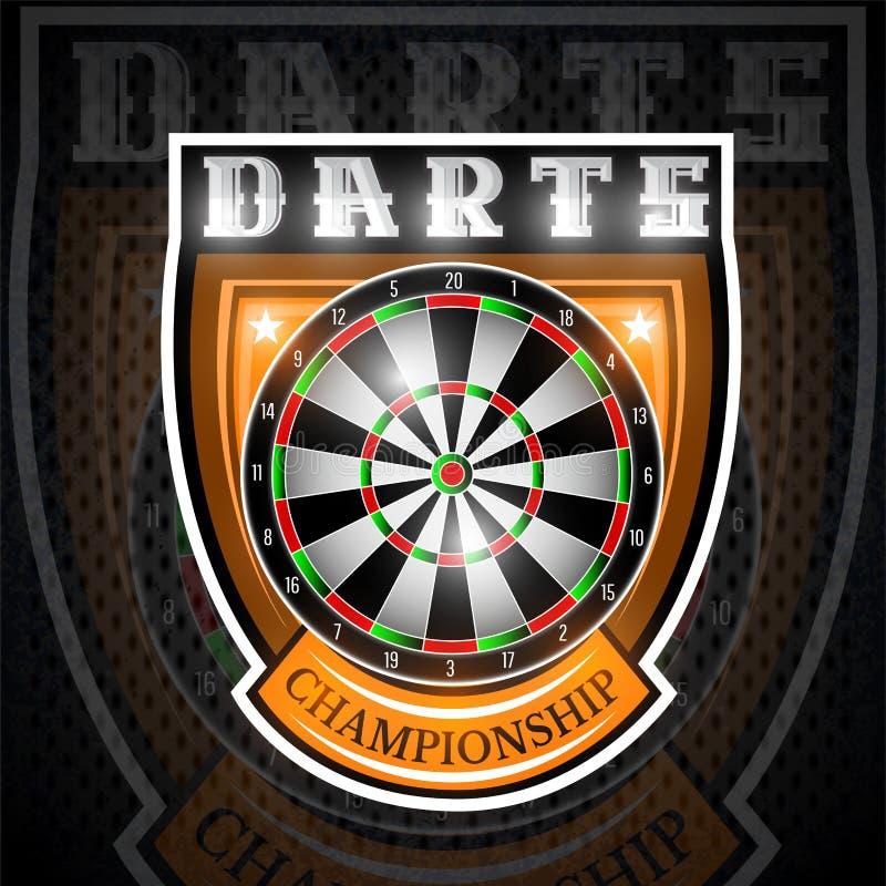 Rond dartboard in centrum van schild Sportembleem voor om het even welk pijltjesspel of kampioenschap vector illustratie