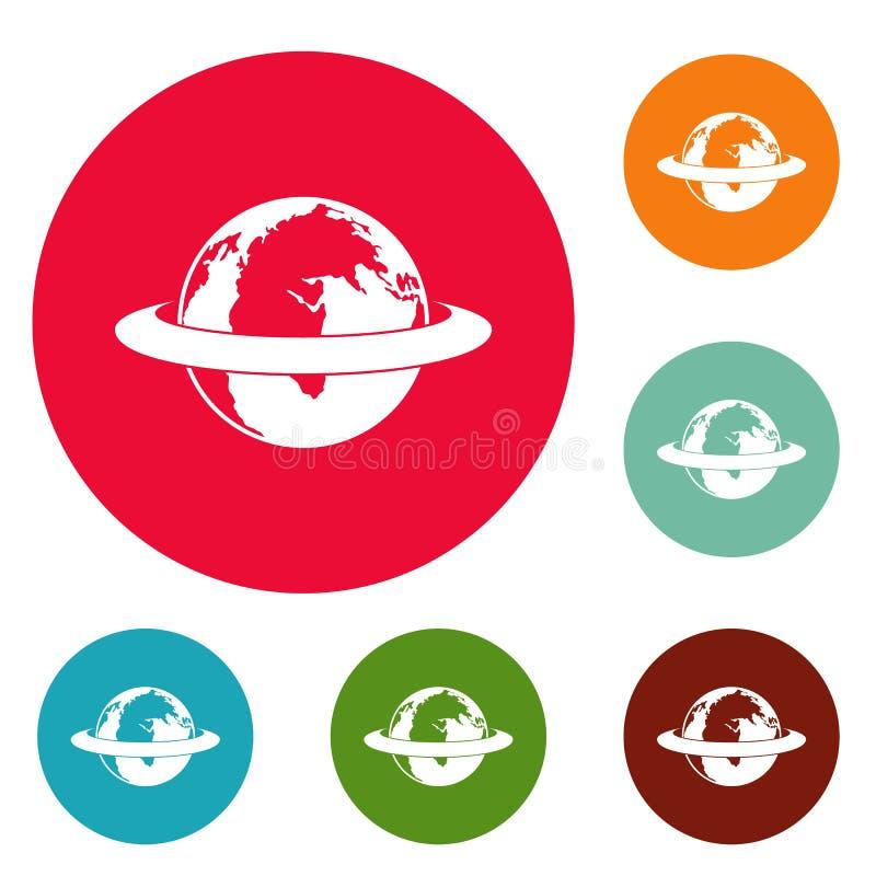 Rond de aarde omcirkelen de pictogrammen vastgestelde vector stock illustratie
