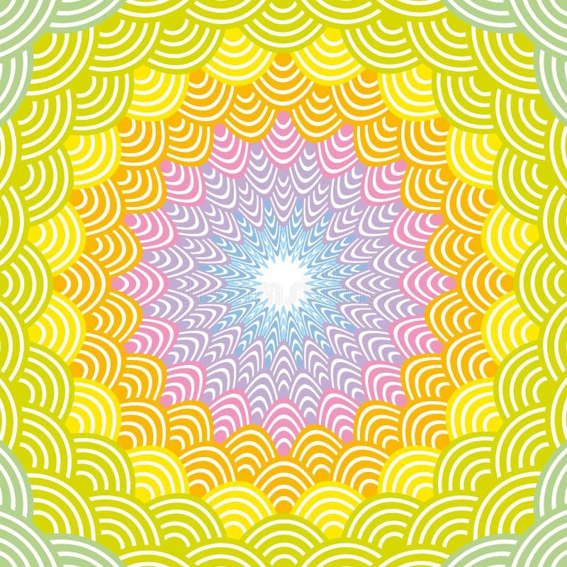 Rond de regenboogkader van de Kroonsamenstelling eenvoudige de Aardachtergrond van vissenschalen met Japanse het patroon Groene g royalty-vrije illustratie