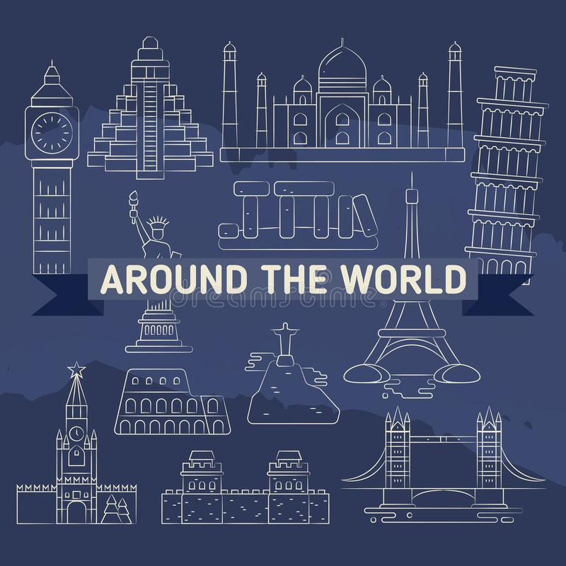 Rond de wereld lineaire pictogrammen - beroemde oriëntatiepunten vector illustratie