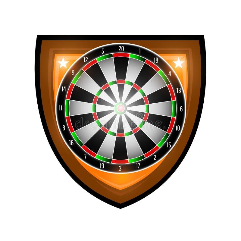 Rond die dartboard in centrum van schild op wit wordt geïsoleerd Sportembleem voor om het even welk pijltjesspel of kampioenschap royalty-vrije illustratie