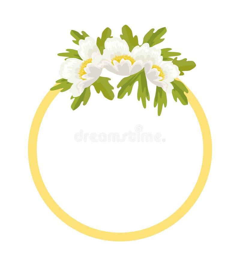 Rond die Kader door Witte Anemone Flowers wordt verfraaid stock illustratie