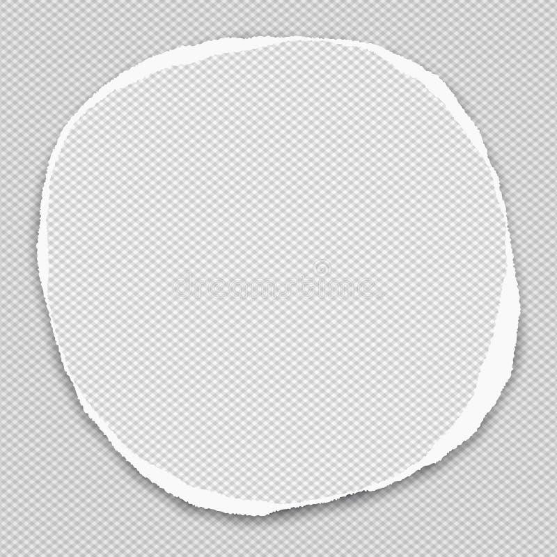 Rond document met gescheurde randen in centrum van geregelde achtergrond Vector illustratie stock illustratie