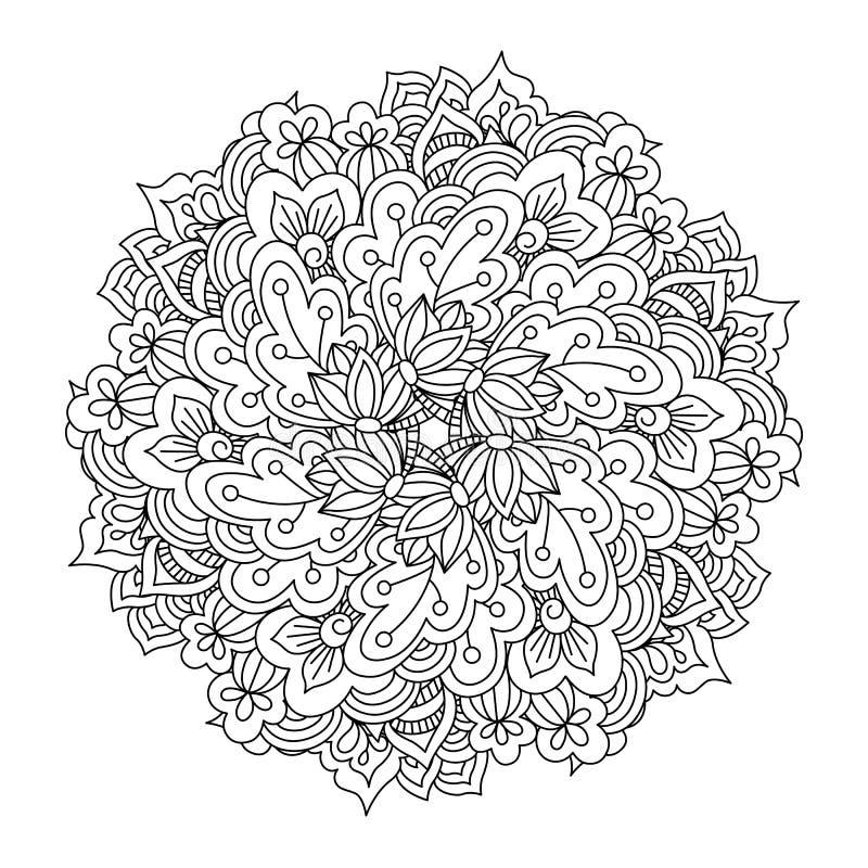 Rond element voor het kleuren van boek Zwart-wit bloemenpatroon vector illustratie