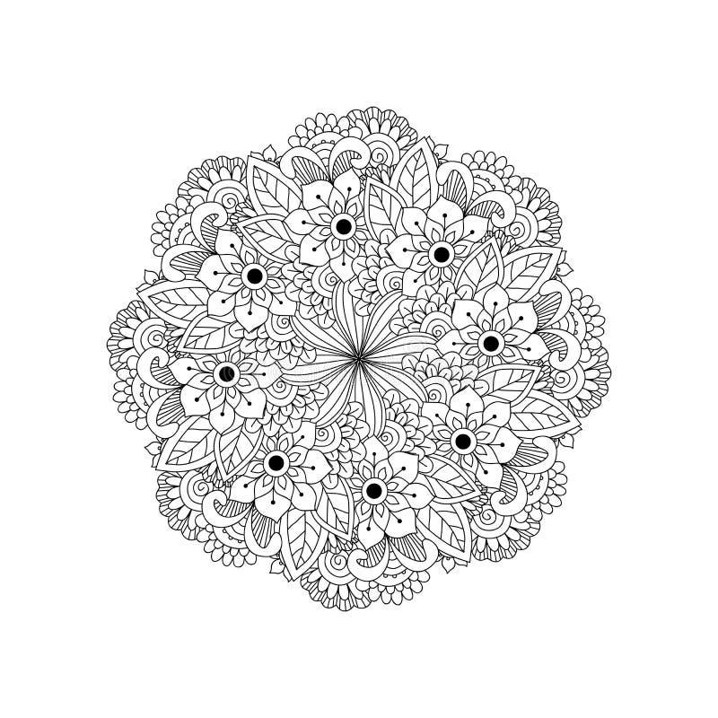 Rond element voor het kleuren van boek Zwart-witte etnische hennapa stock illustratie