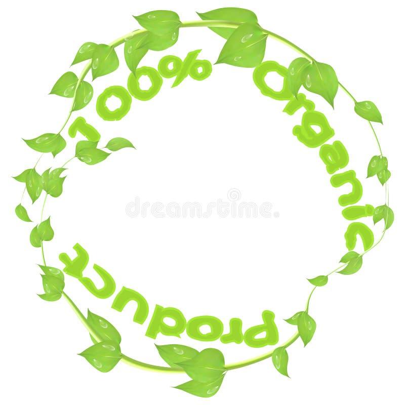 Rond embleem van takken en bladeren met dalingen van dauw en inschrijving 100 biologisch product royalty-vrije illustratie