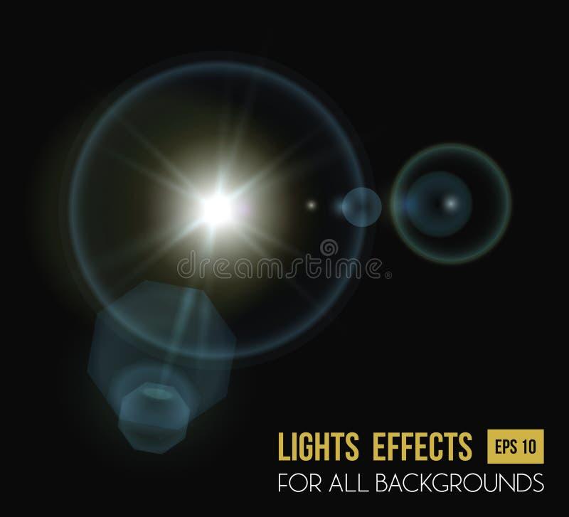 Rond en hexadecimaal zon lichteffect met lens stock illustratie