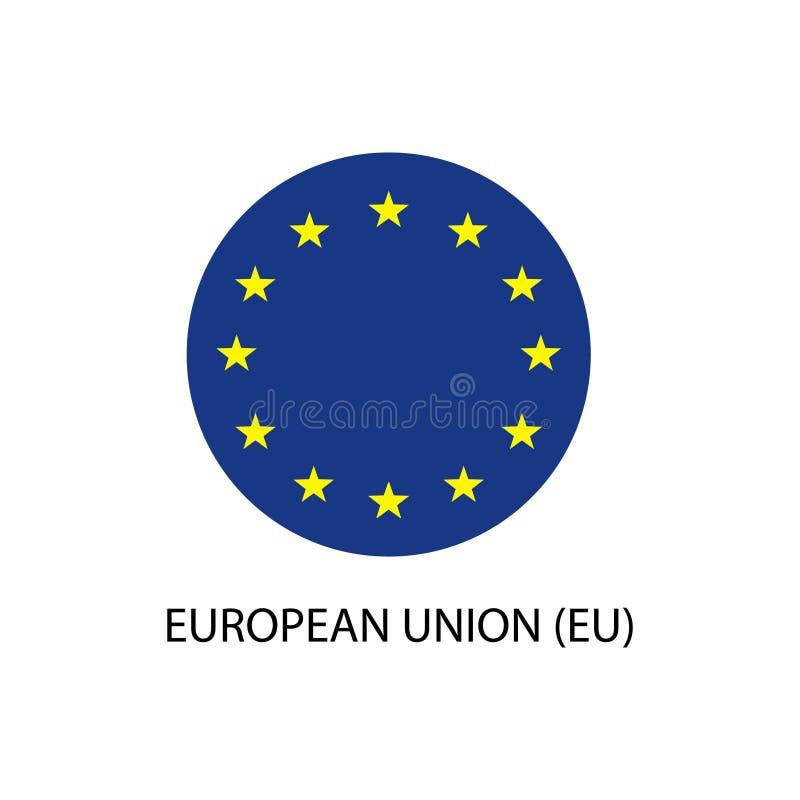 Rond Europese Unie geïsoleerd vlag vectorpictogram royalty-vrije illustratie