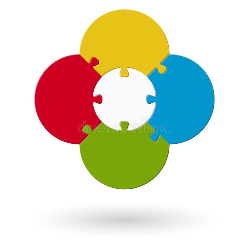 rond gekleurd bloemraadsel stock illustratie