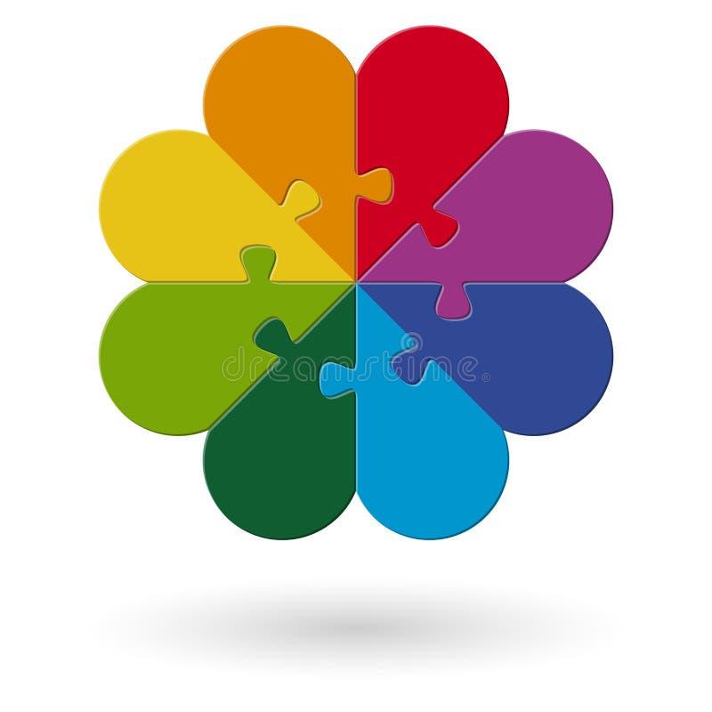 rond gekleurd bloemraadsel vector illustratie