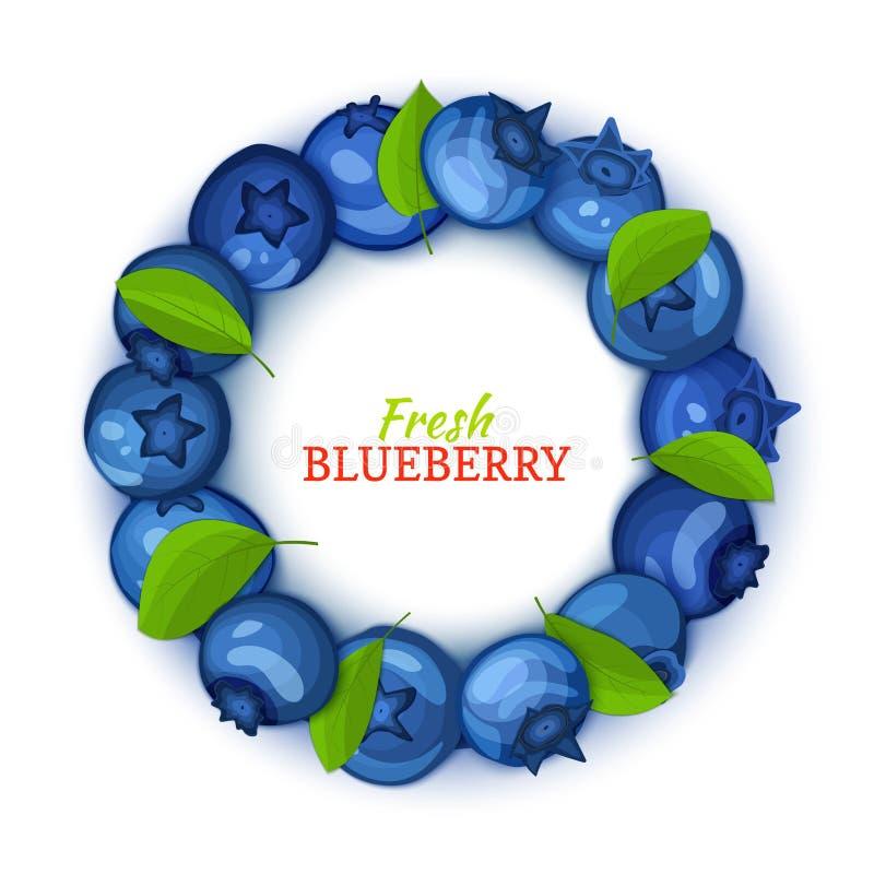 Rond gekleurd die kader uit heerlijk bosbessenfruit wordt samengesteld Vectorkaartillustratie Blauwe vers en sappige bosbes vector illustratie