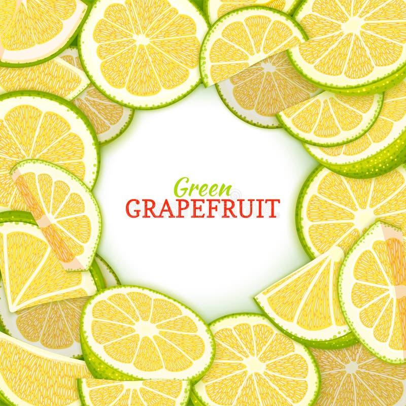 Rond gekleurd die kader uit heerlijke grapefruit wordt samengesteld Vectorkaartillustratie Groene pompelmoes verse en sappige cit vector illustratie
