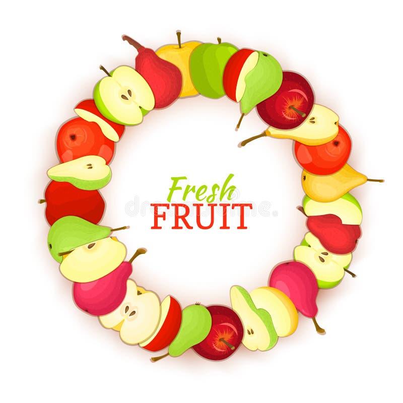 Rond gekleurd die kader uit het heerlijke fruit van de perenappel wordt samengesteld Vectorkaartillustratie De appel verse vrucht vector illustratie